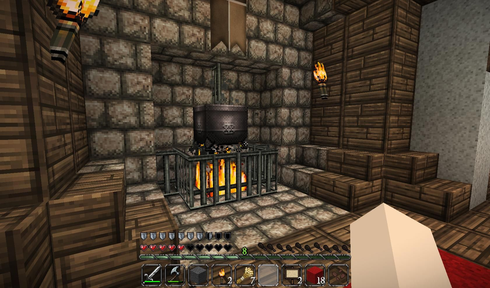 Fireplace With Cooking Pot Minecraft Room Minecraft Castle