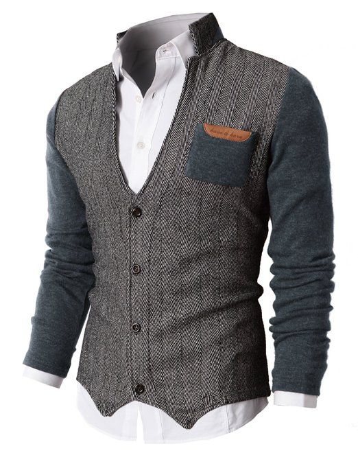 H2H Mens Herringbone Cardigan Sweater Of Knitted Sleeves at Amazon Men's Clothing store: