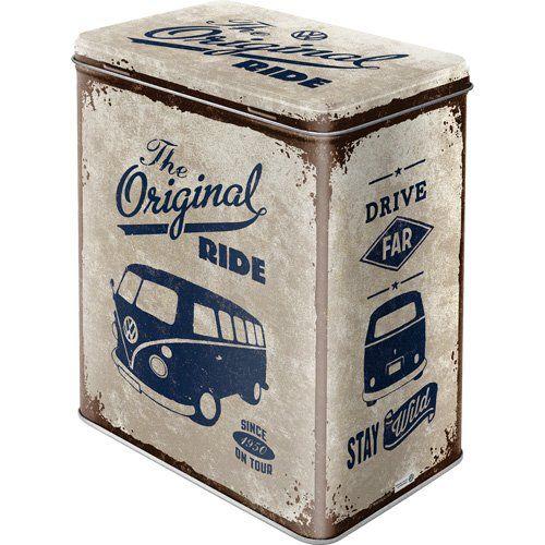 Nostalgische Retro Vorratsdose Blechdose /'VW Garage/' Volkswagen Service blau