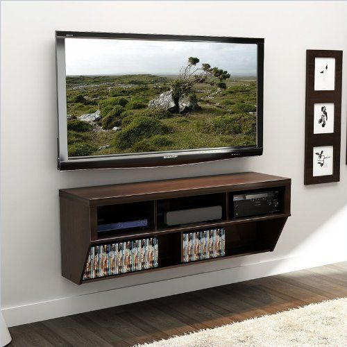 Amazon Com 58 Espresso Wall Mounted Component Media Stand Audio Video Media Cabinets Wall Mounted Tv Tv In Bedroom Living Room Tv Stand