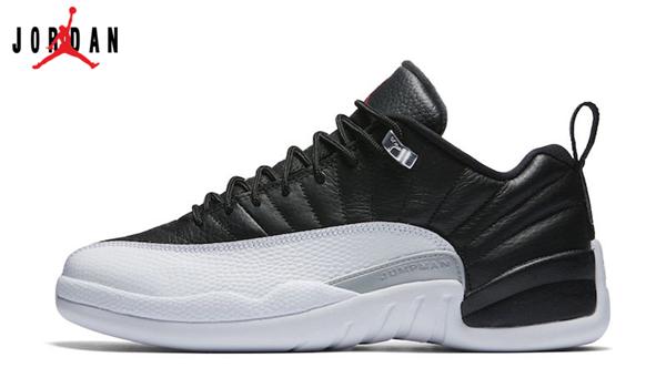 81cd0adf2c7c Men s Women s Air Jordan 12 Low Playoffs Basketball Shoes Black Varsity Red- White