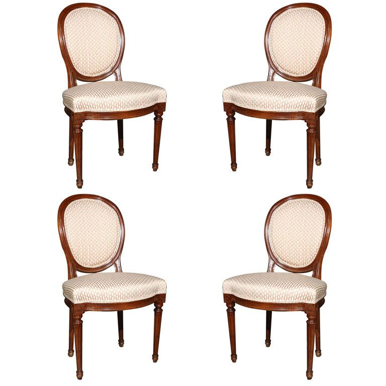 Beautiful Set Of Four French Louis XIV Style Dining Chairs