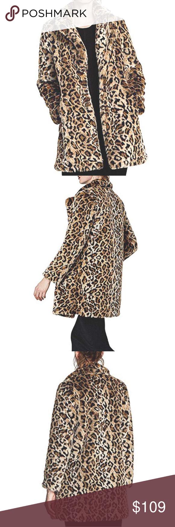 959a297360c5 Women's Long Sleeve Parka Faux Fur Coat PLEASE REFER TO SIZE CHART Women  Warm Long Sleeve Parka Faux Fur Coat Overcoat Fluffy Top Jacket Leopard  Jackets & ...