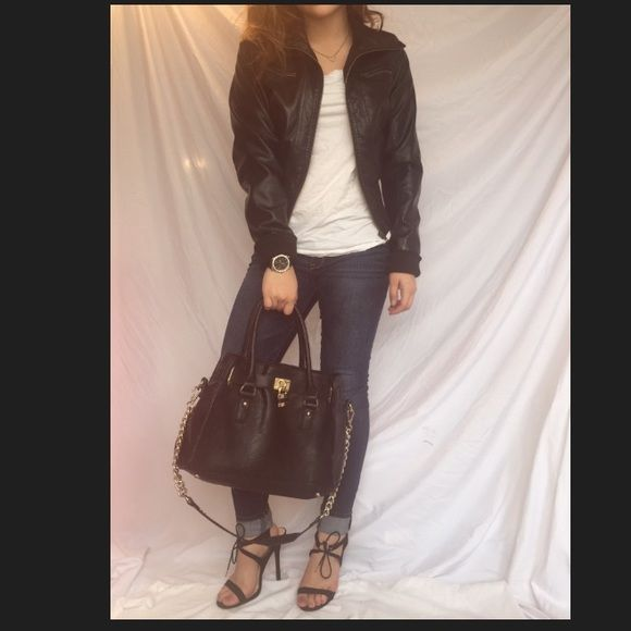 Sale for An hour ! Jacket FULL BLACK LEATHER JACKET  2 ZIPPER JACKETS 2 REGULAR POCKETS                              outer shell coating :100% polyurethane                            Backing: 100% rayon                                                 Contrast rib : 99% polyester 1% spandex.                      Lining : 100% polyester. Jackets & Coats