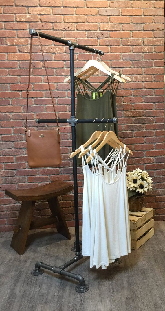 Clothing Rack 4 Way Industrial Style Pipe Retail Store Fixture