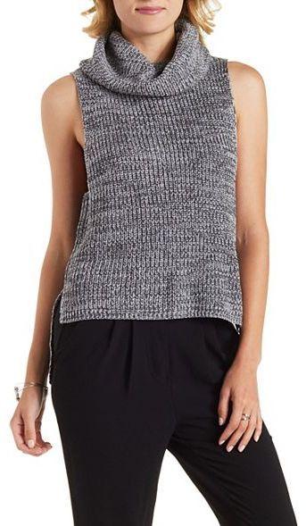 74cae7dd4 Sleeveless High-Low Turtleneck Sweater    Thea queen