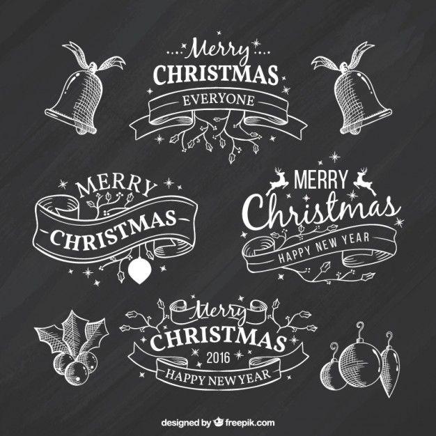 Download gratis Schetsmatig Kerst Linten Op Blackboard