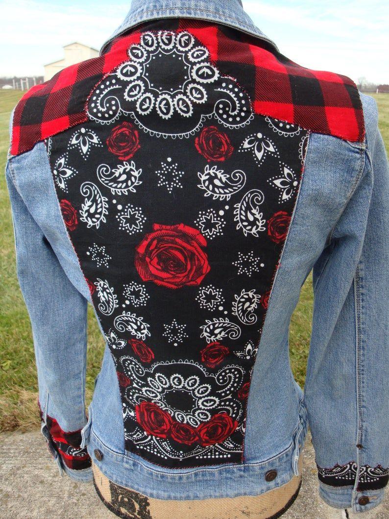 Cowgirl Western Denim Jacket Etsy Upcycled Denim Jacket Diy Denim Jacket Rose Jeans [ 1059 x 794 Pixel ]