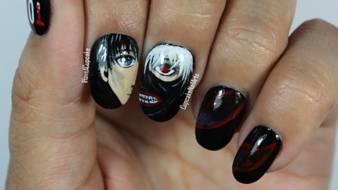 Anime Nail Art Tokyo Ghoul Nails Anime Nails Thanksgiving Nail Art Nail Art Designs