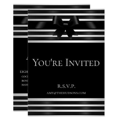 black bow white stripes new years eve invitation formal speacial diy personalize style template