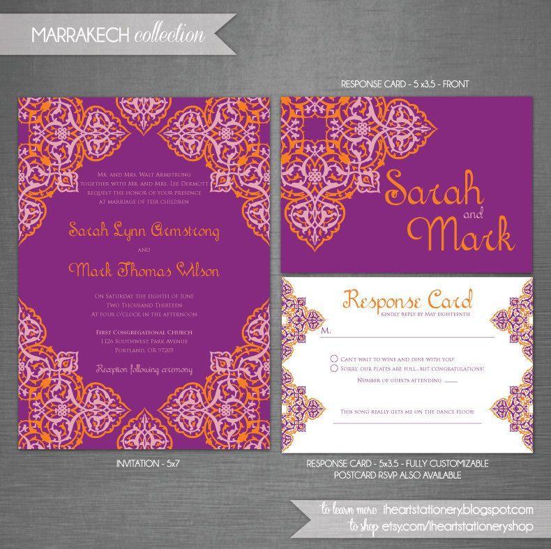 Wedding Invitation and RSVP Moroccan Morocco Arabian Arabesque