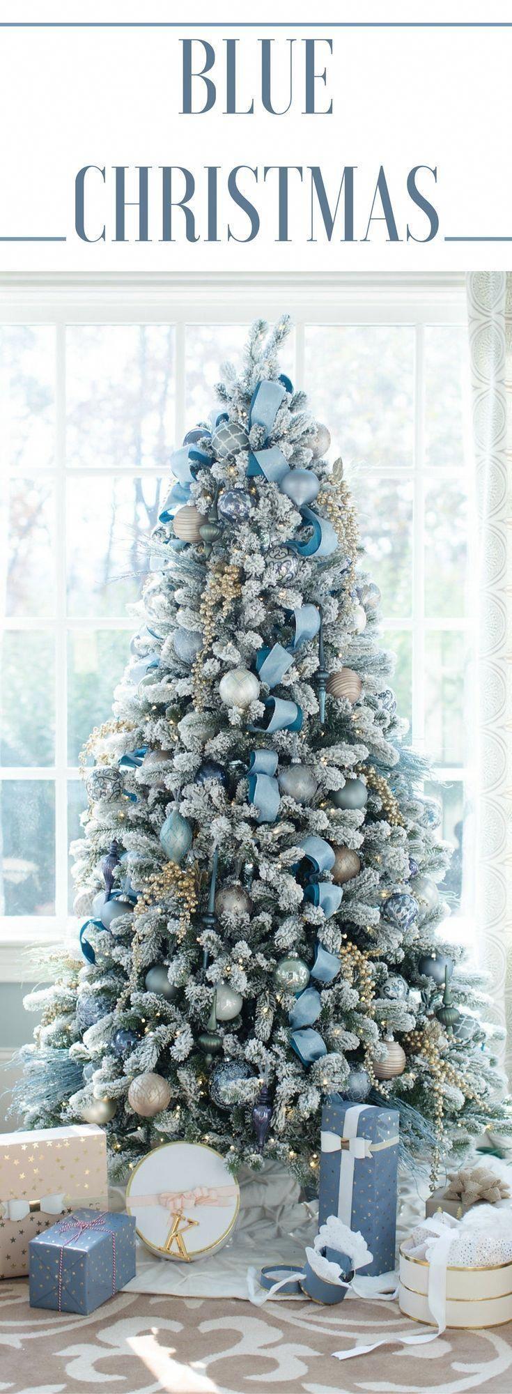 Blue Christmas Decor Theme Ad Decoratingachristmastree White