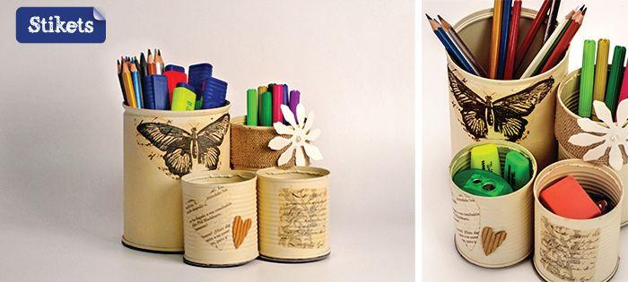 Latas recicladas con decoupage latas recicladas pinterest - Se puede pintar el aluminio ...