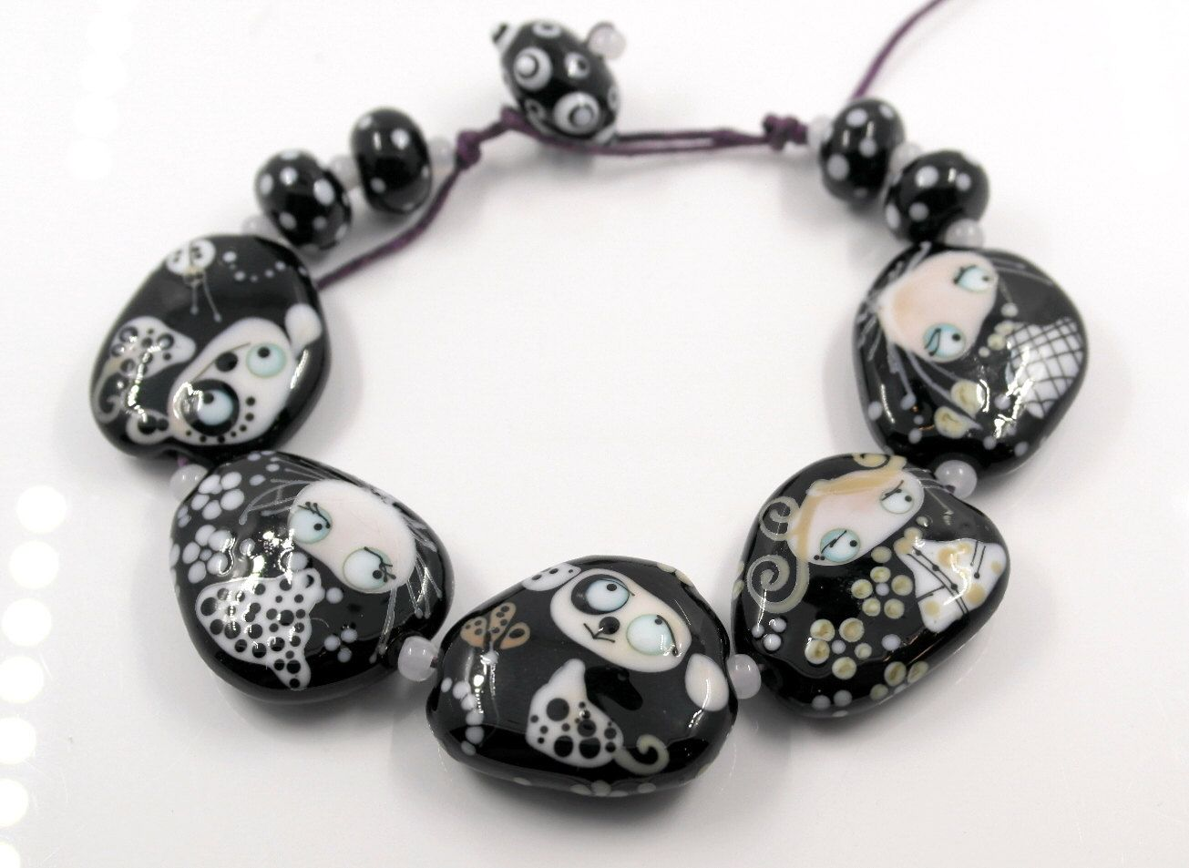 lampwork beads glass beads set black and white glass beads animal beads