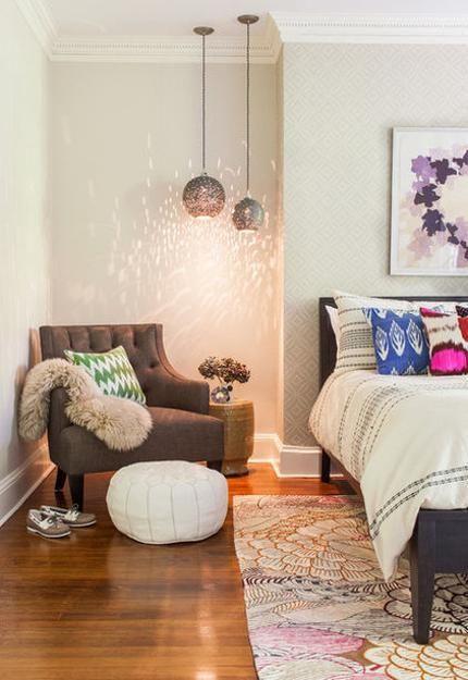 Bohemian/modern reading nook with interesting decorative lighting