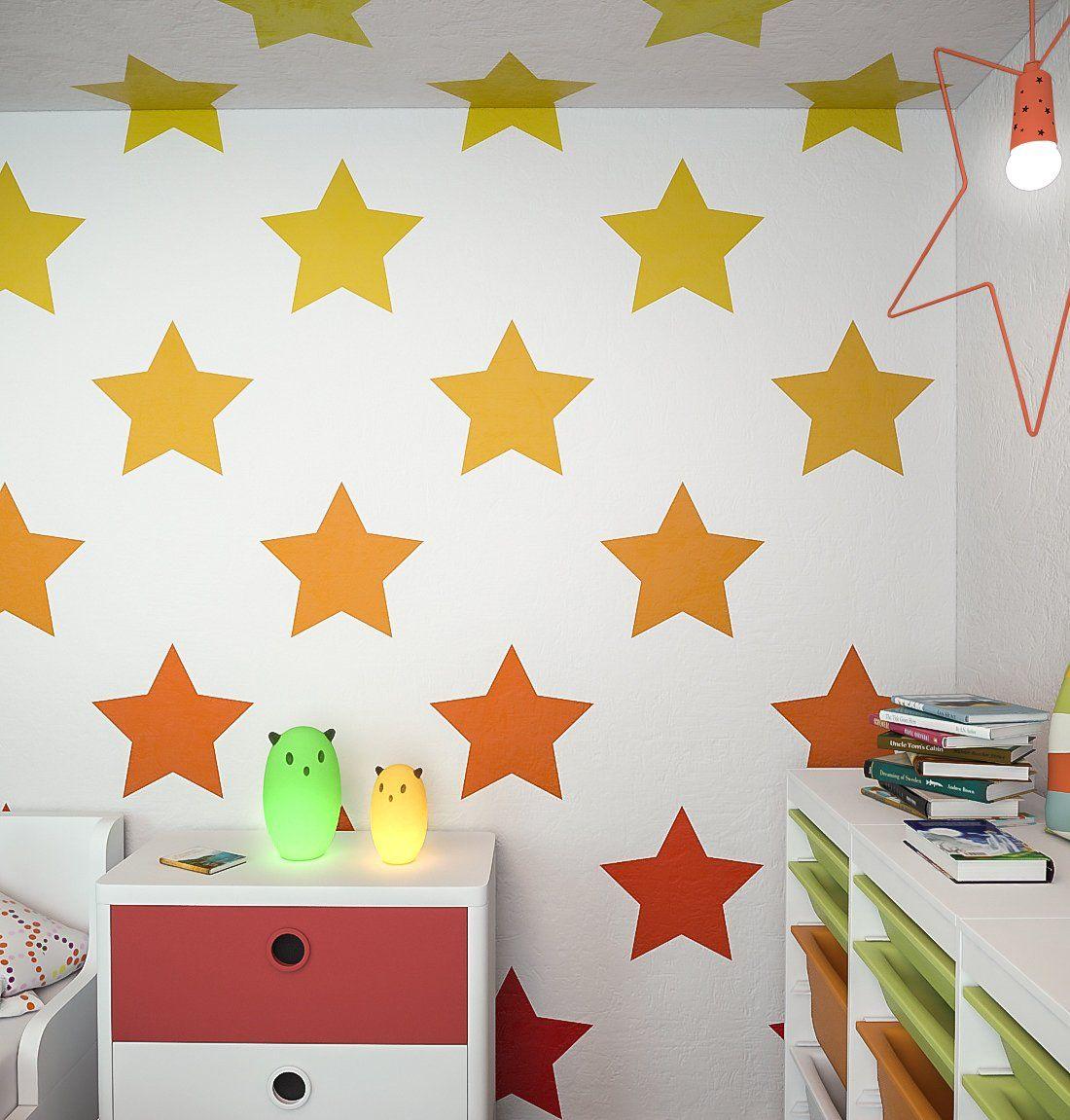 Stars Allover Wall Stencil Nursery Decor Large Stencils