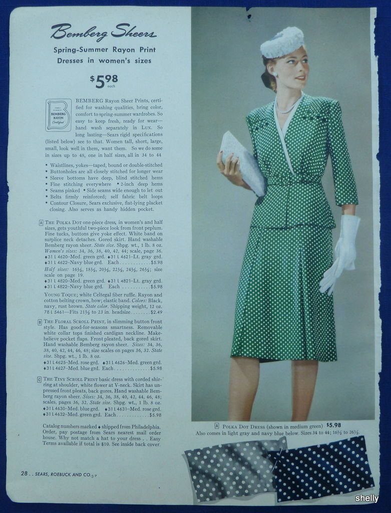 13982c925 Dresses Hats Womens Clothing Spring Summer Vintage 1940s Sears ...