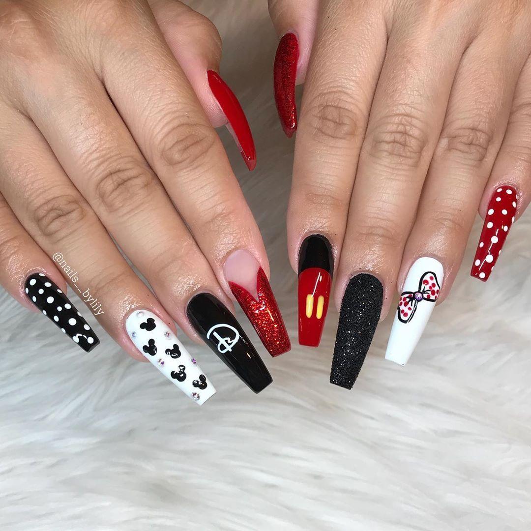 Mickey Inspired Disney Nails Mickeynails Nails Nails Nailart Nailsofinstagram Nailstyle In 2020 Mickey Nails Disneyland Nails Disney Acrylic Nails