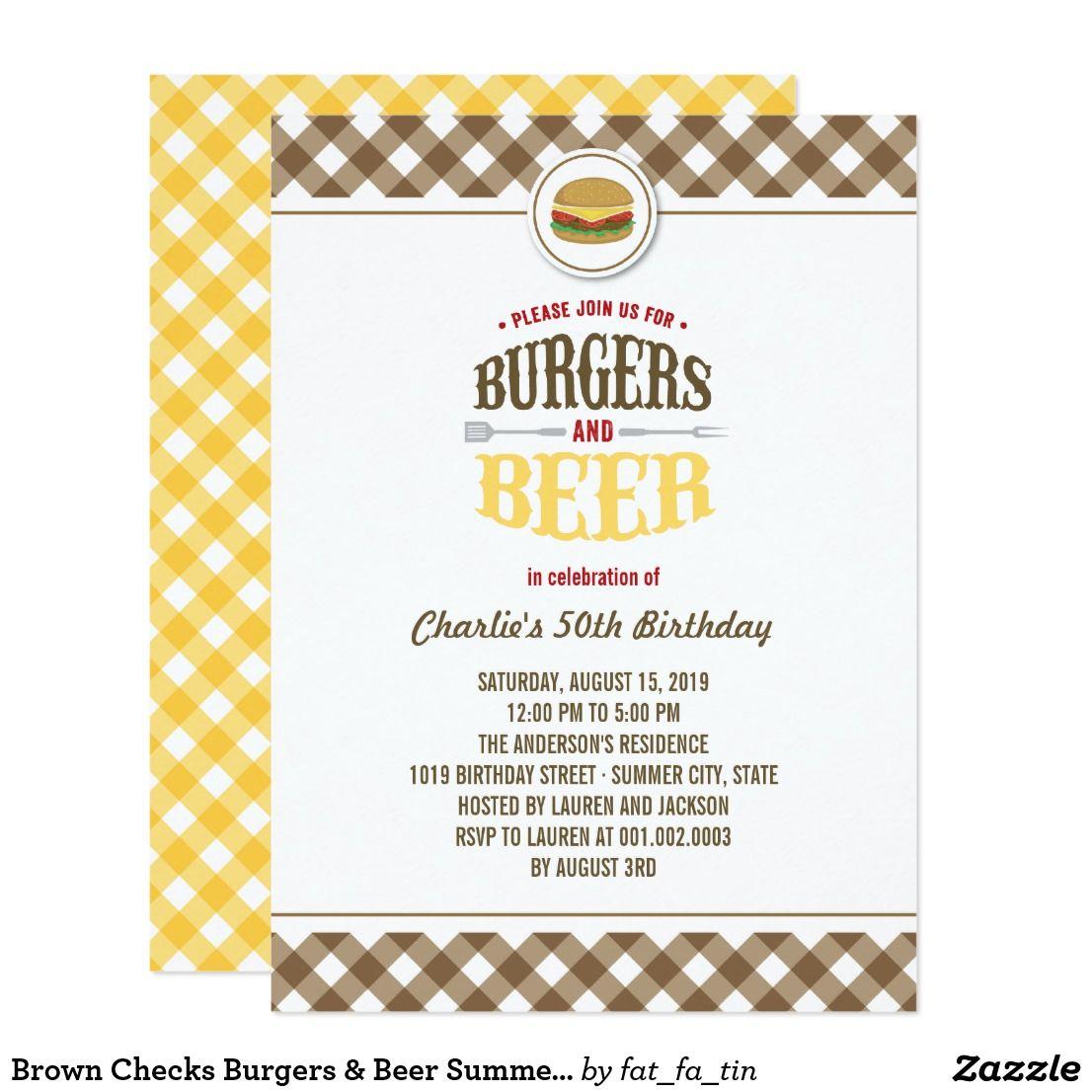 Brown Checks Burgers & Beer Summer Birthday Party Invitation ...