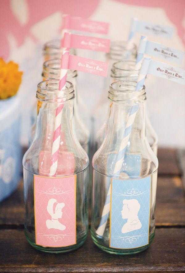 princess party drink bottles. Hmmm wonder if I could switch these to aurora and Phillip!