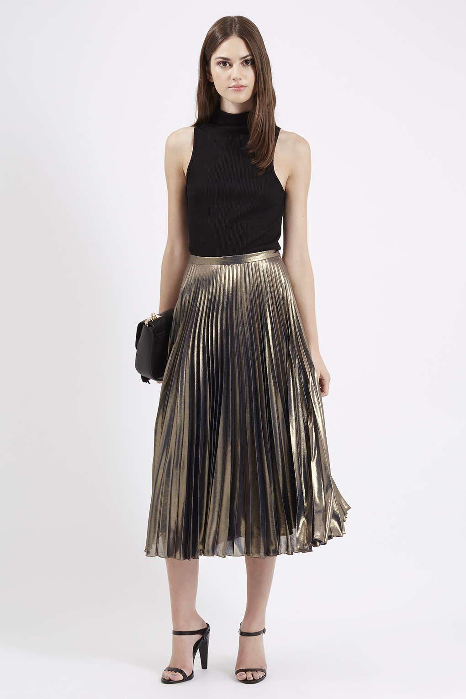 Metallic Pleated Midi Skirt | Skirts, Pleated midi skirt and Europe
