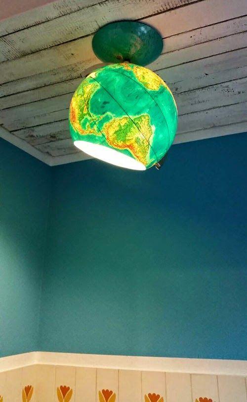 Eine neue deckenlampe aus einem alten globus lampen pinterest lampen deckenlampe und - Lampe kinderzimmer basteln ...