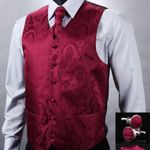 Kvalitná hodvábna pánska vesta + vreckovka, kravata a gombíky - vínovo-červená