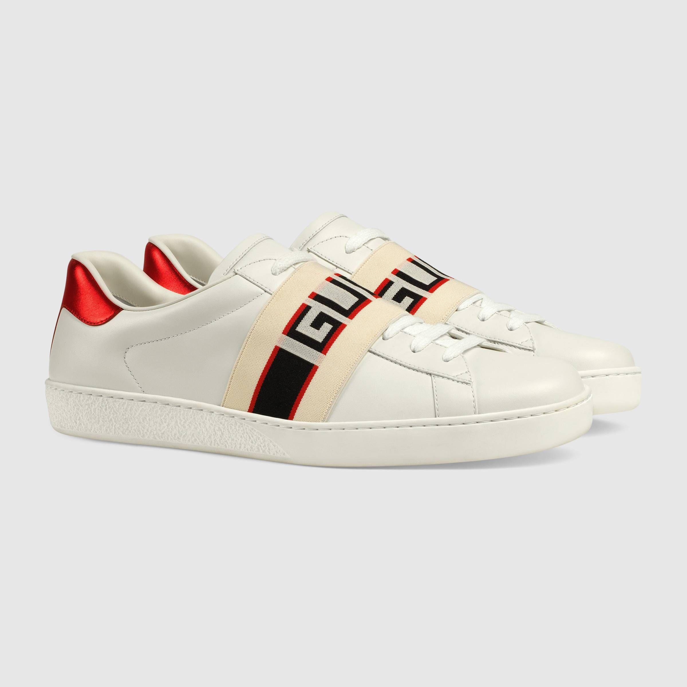 Gucci stripe leather sneaker in White