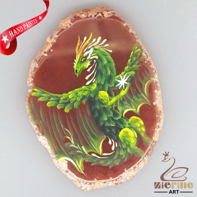 HAND PAINTED PHOENIX AGATE SLICE GEMSTONE DIY NECKLACE PENDANT ZL8018358 #ZL #PENDANT