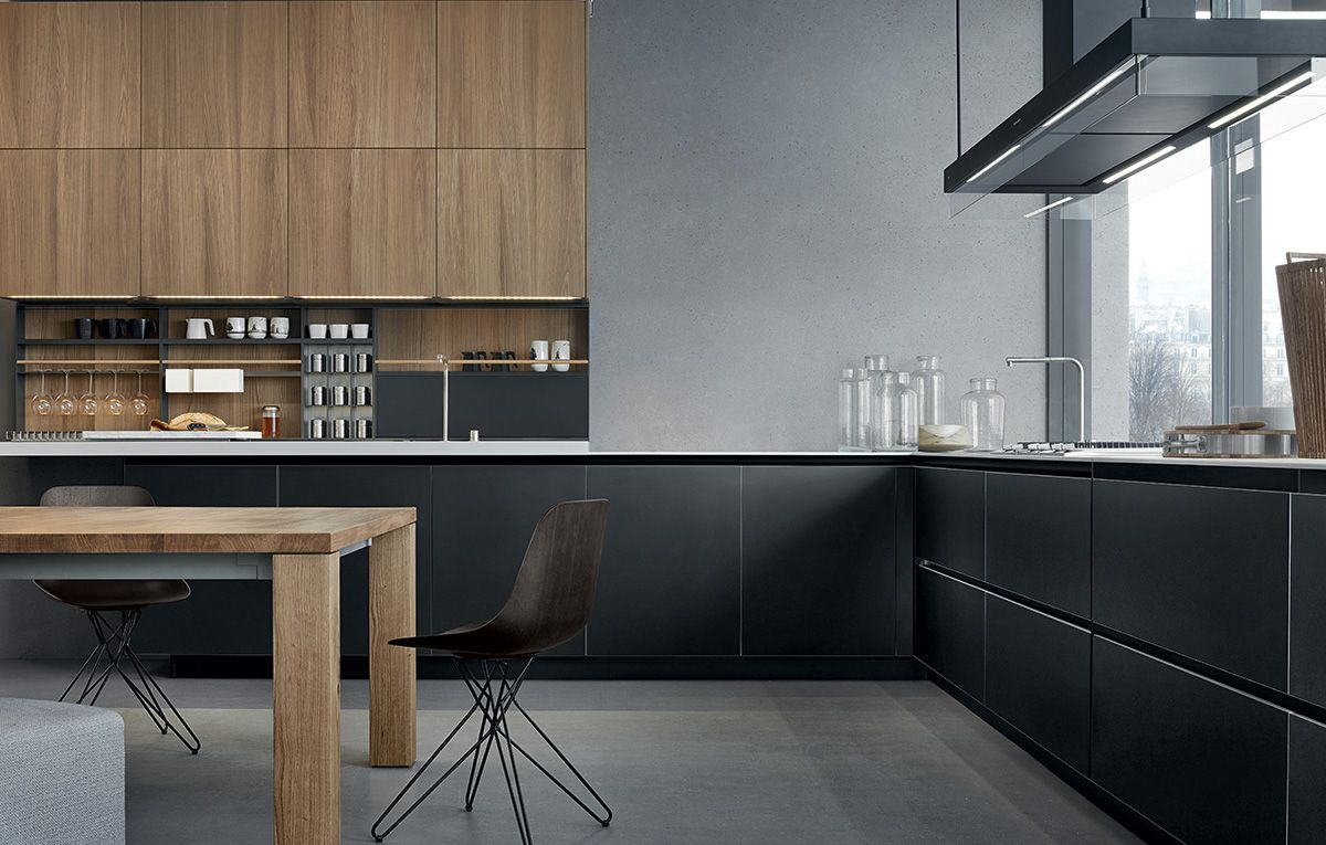 twelve kitchen with base units in black frosted glass and anodized aluminium k che. Black Bedroom Furniture Sets. Home Design Ideas