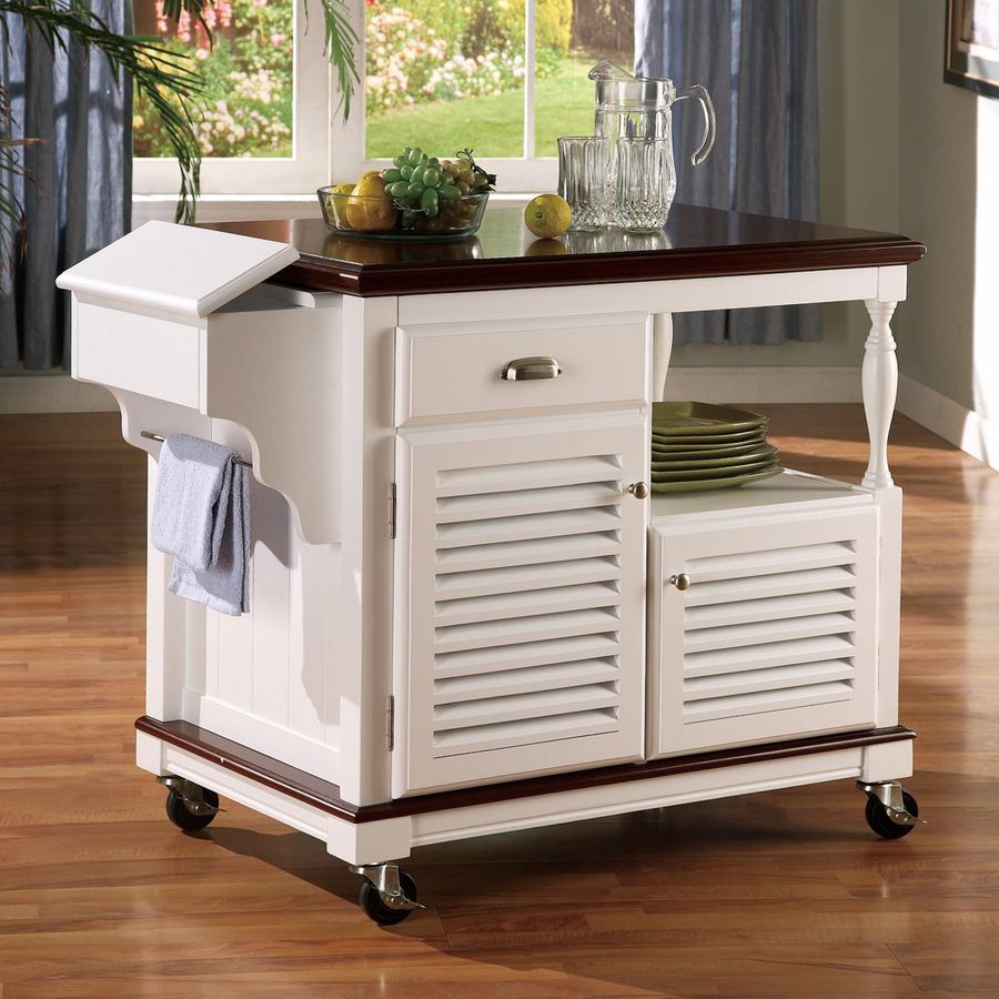 Coaster Fine Furniture 435In L X 37In W X 34In H White Inspiration Kitchen Island On Casters Decorating Inspiration