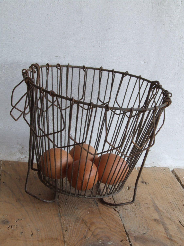 Wire Egg Basket//Vintage French Salad spinner//Wire Basket//vintage ...