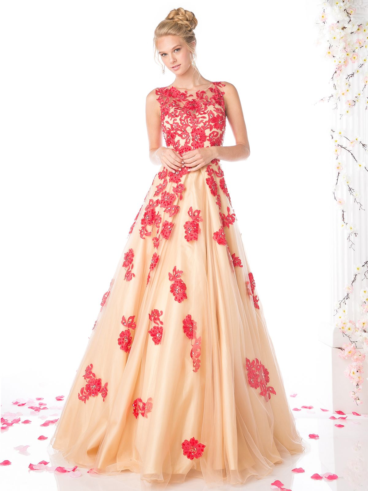 CD-CF193 Sleeveless Full Ball Gown - Red Nude, Front View Medium ...