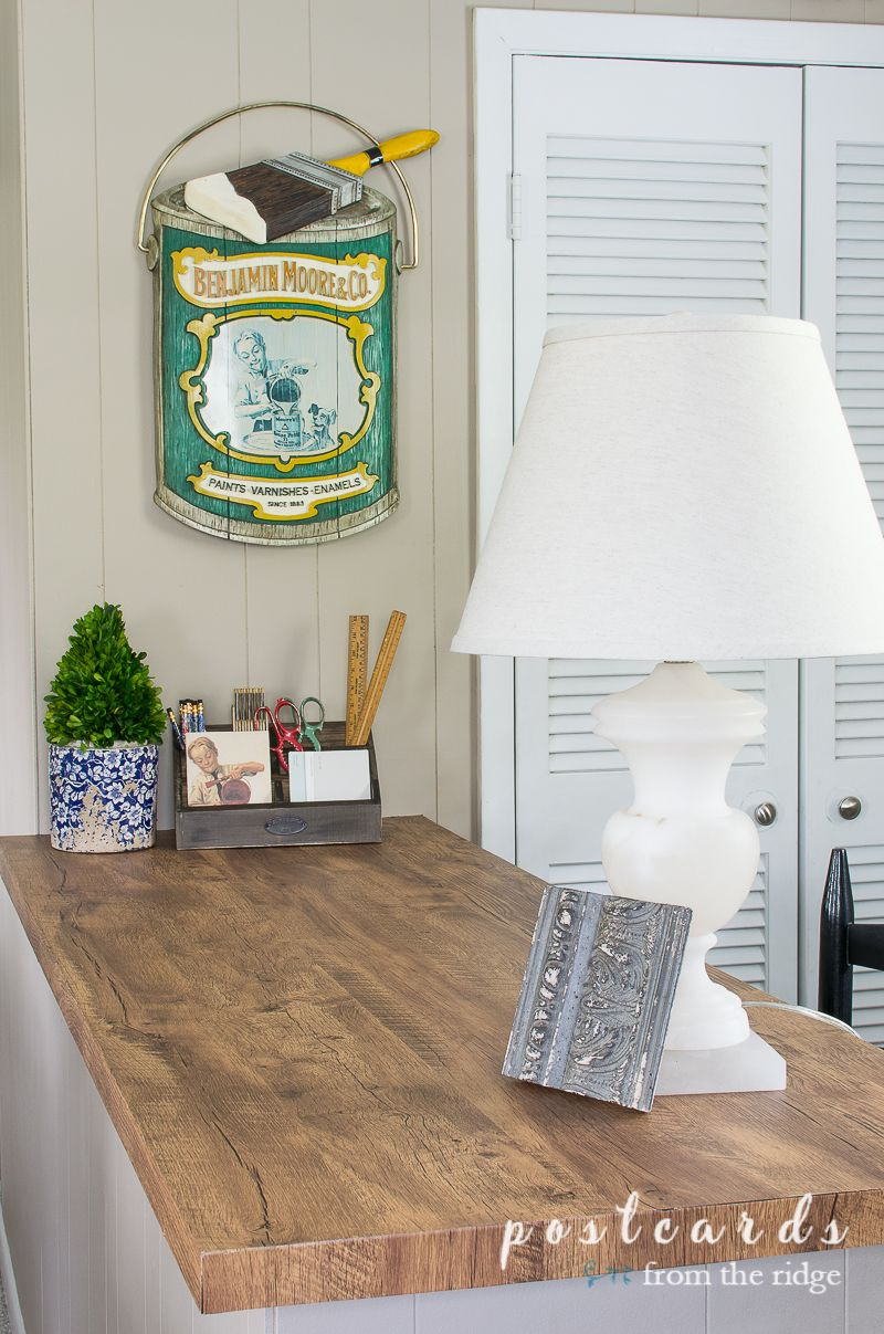 How I Updated A Countertop With Wood Look Contact Paper Contact Paper Contact Paper Countertop Decor