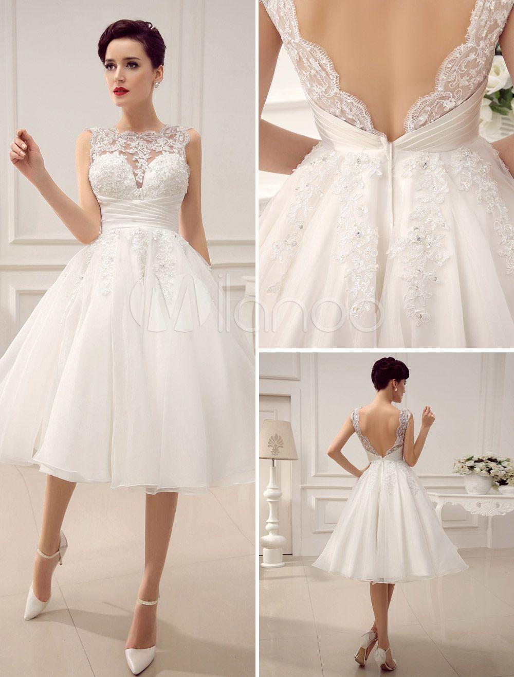 Vestido de noiva curto marfim com renda e decote V | Courthouse ...