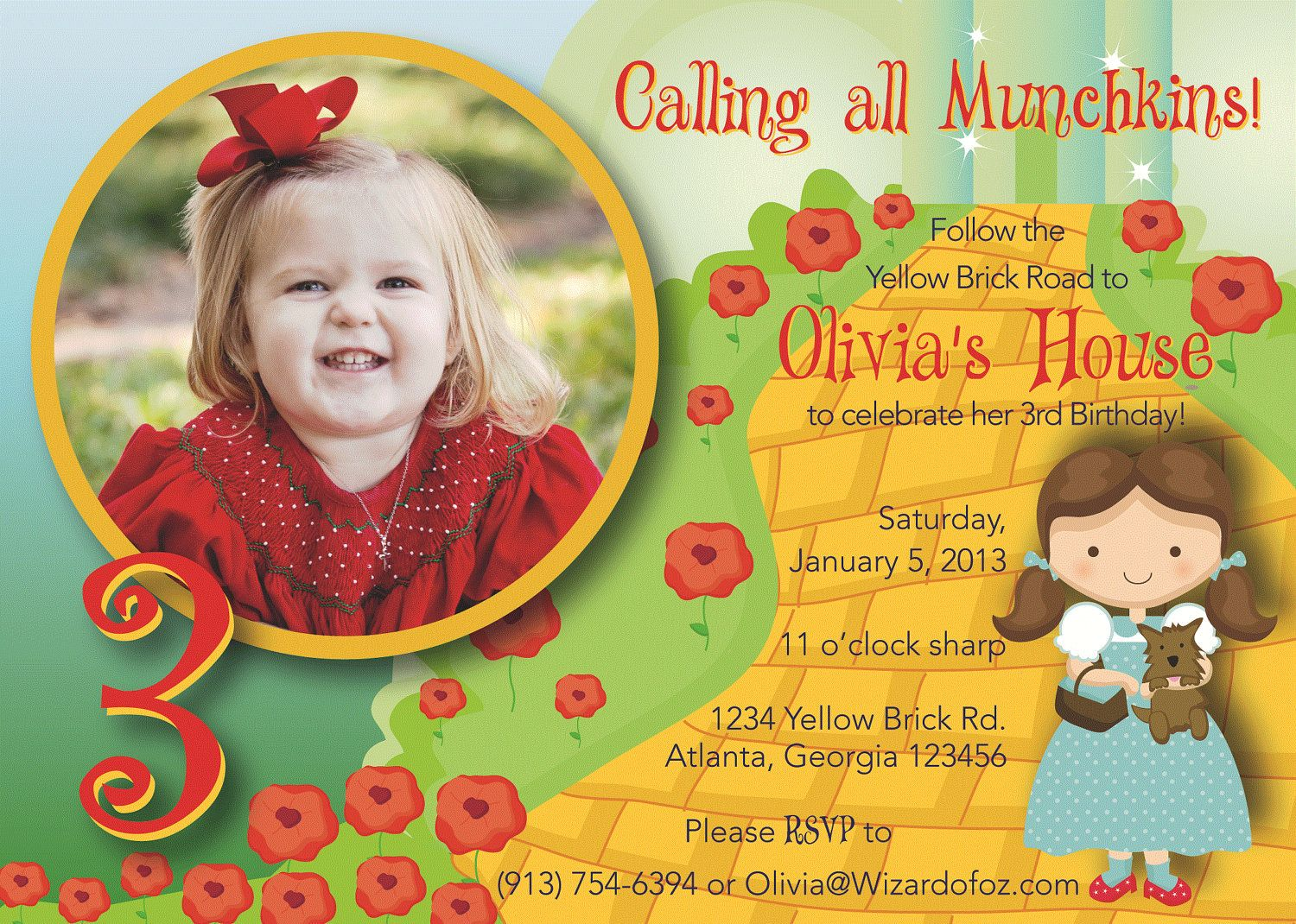 Super cute wizard of oz invitation with photo matching ty cards super cute wizard of oz invitation with photo matching ty cards 699 via bookmarktalkfo Image collections