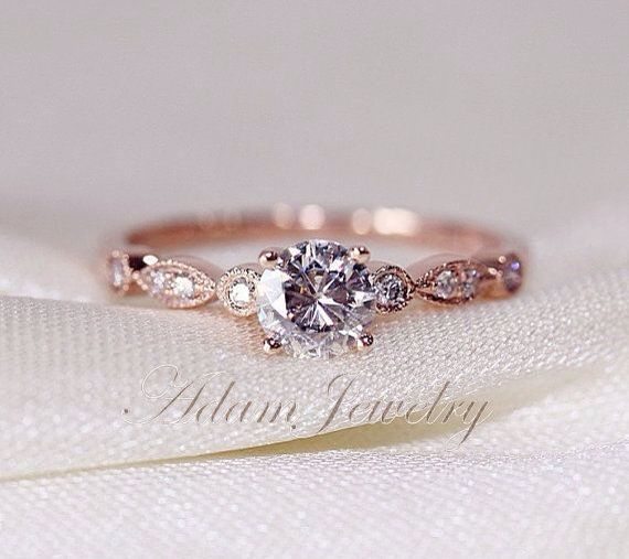 Rose Gold Delicate Engagement Ring Minimalist Engagement Ring 14k Rose Gold Engagement Rings Wedding Rings