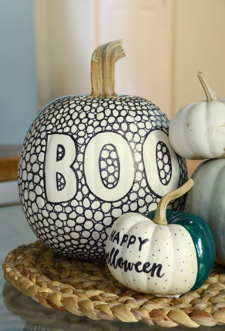 DIY Black and White Patterned Pumpkin With A Pop of Color