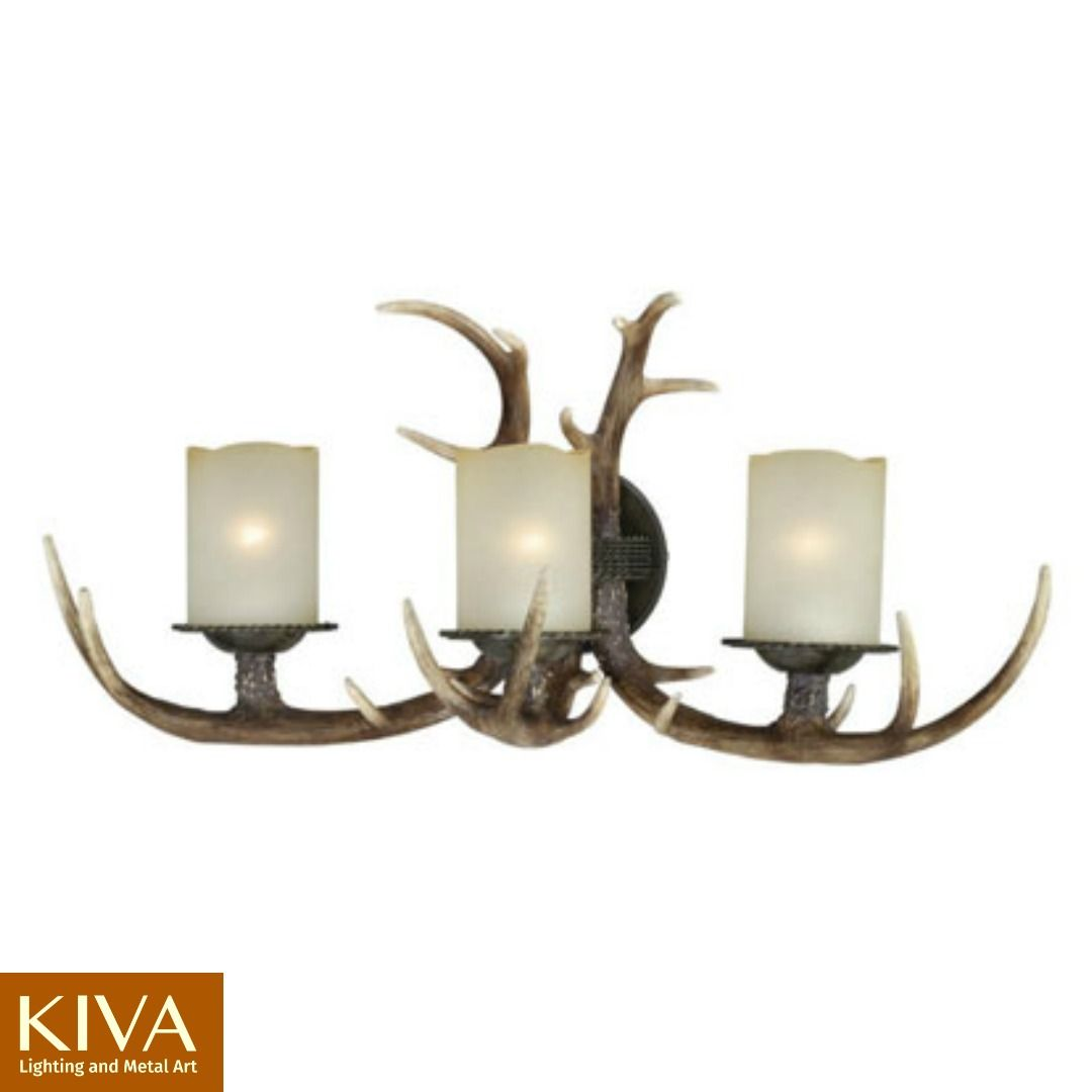 Rustic lighting and fans antlers bath vanities and vanities 3 vanity antler light by vaxcel faux antler light arubaitofo Choice Image