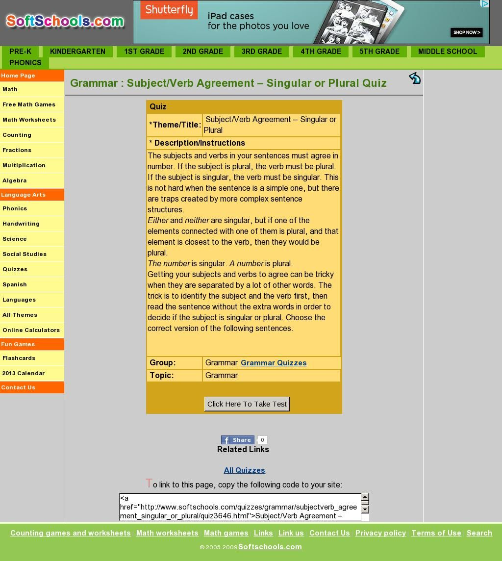 Subject Verb Agreement Singular Or Plural Quiz Subject Verb Agreement Subject And Verb Plurals