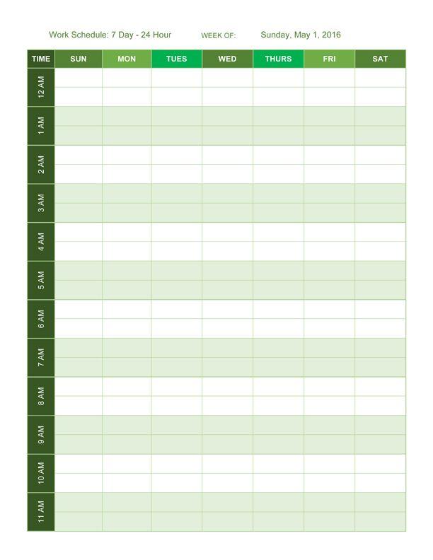Hour Employee Schedule Template Schedule Template Pinterest - 24 hour schedule template
