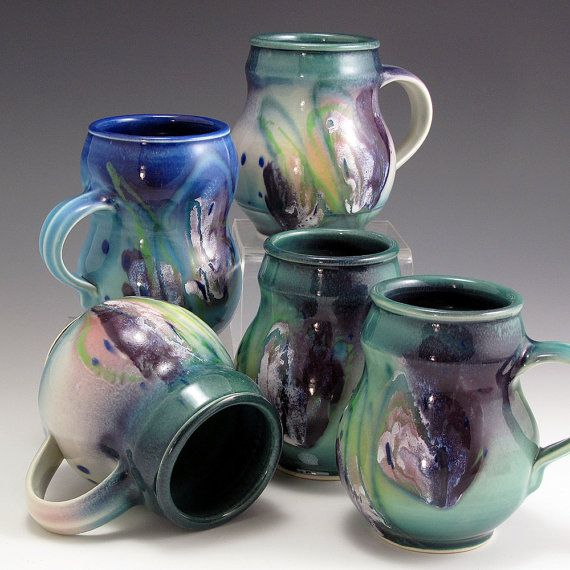 Hand Thrown High Fired English Porcelain 16 oz Mug Watercolor Glaze SHIPPING INCLUDED