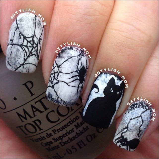 Creepy Spider Webs and Black Cat Halloween Nails - Halloween Nails By Stylish_mom Nails Pinterest Scary Nails