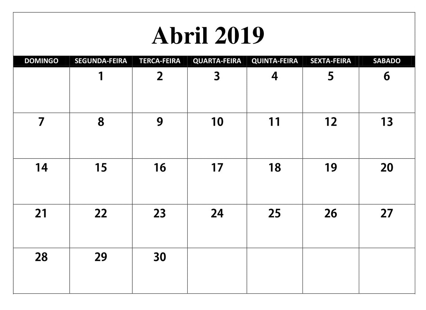 80878a6f6 Calendário 2019 Abril