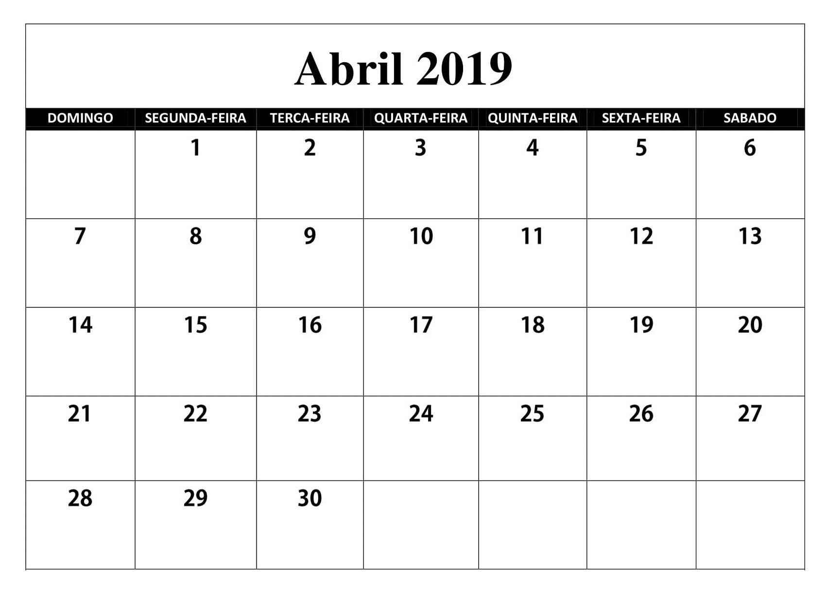 Pin Em Calendario Abril 2019 Imprimir