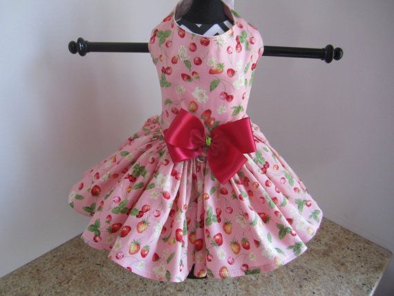 Dog Dres Pink with Srawberry   By Nina's by NinasCoutureCloset
