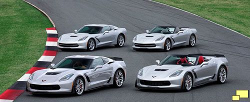 2015 Chevrolet Corvette lineup: (front) Z06 coupe and convertible ...