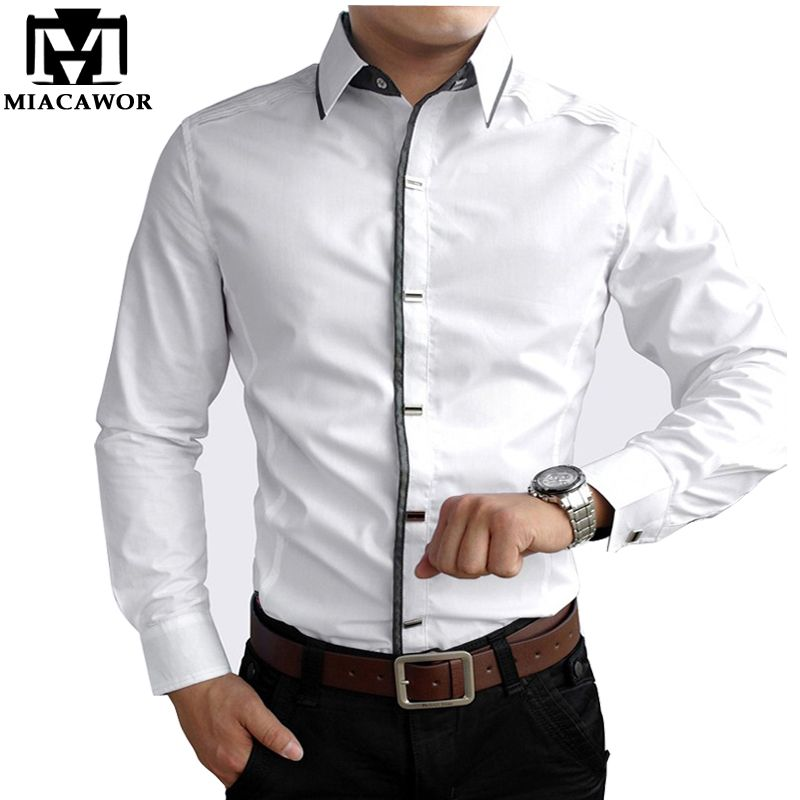 df78a6500 Nuevo 2016 Del Otoño Del Resorte Camisas de Vestir de Algodón de Alta  Calidad Para Hombre Casual