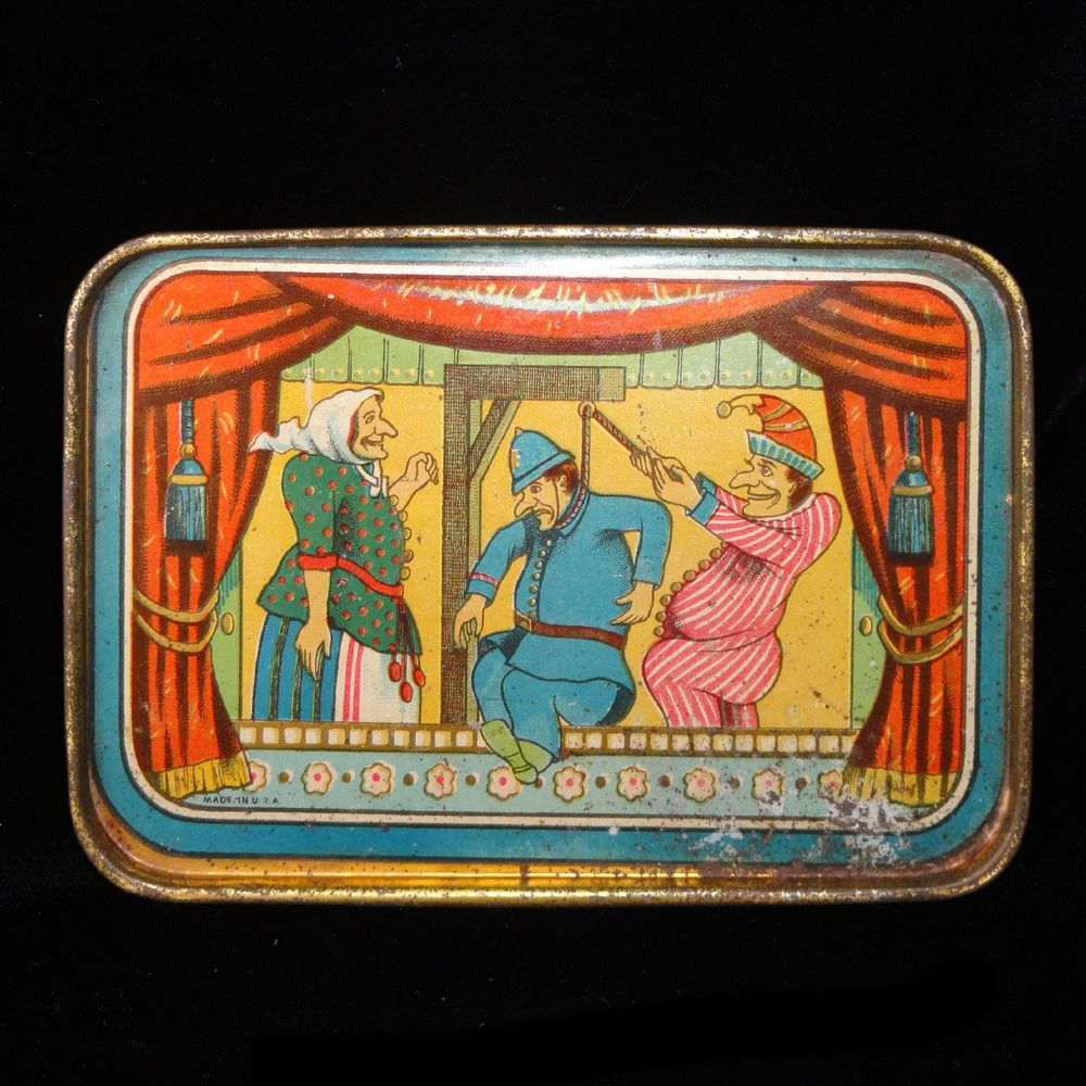 Rare PUNCH & JUDY Puppet Show Tin Litho Childs Toy Tea Set Tray 1890