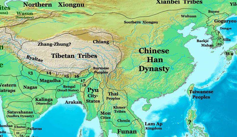 El Imperio Chino durante la dinastía Han Al noroeste, los - best of world history maps thomas lessman